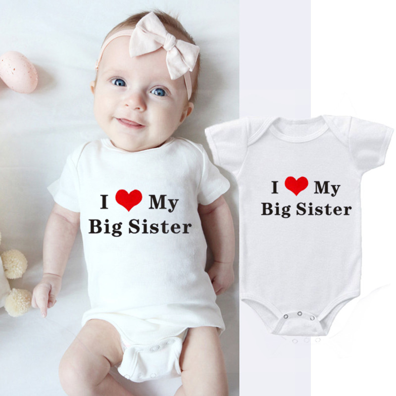 Rompers Newborn-Clothes Baby Onesie Sister-Printed Funny Babies Body Cotton I-Love-My title=