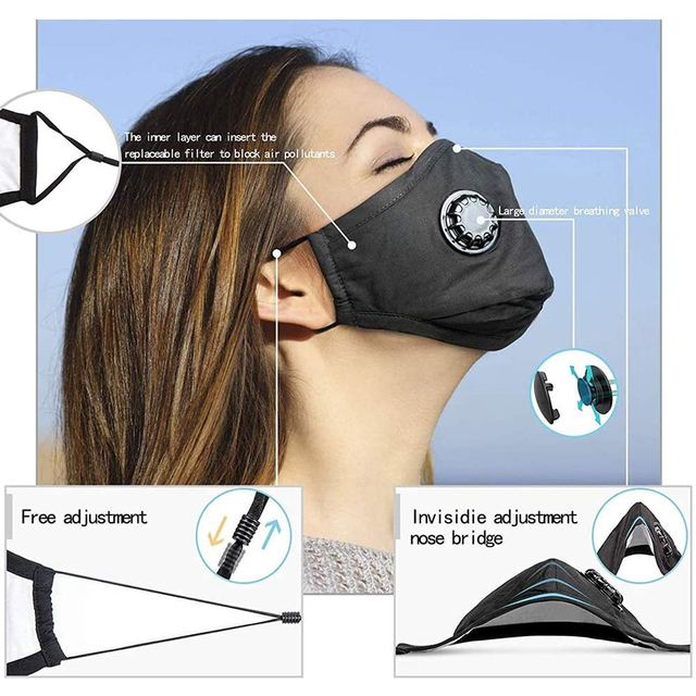 Tcare Double Valve Adults PM2.5 Mouth Mask With 2 Replaceable Filters Mask Anti Dust Pollution Protective Breathable Face Mask 4