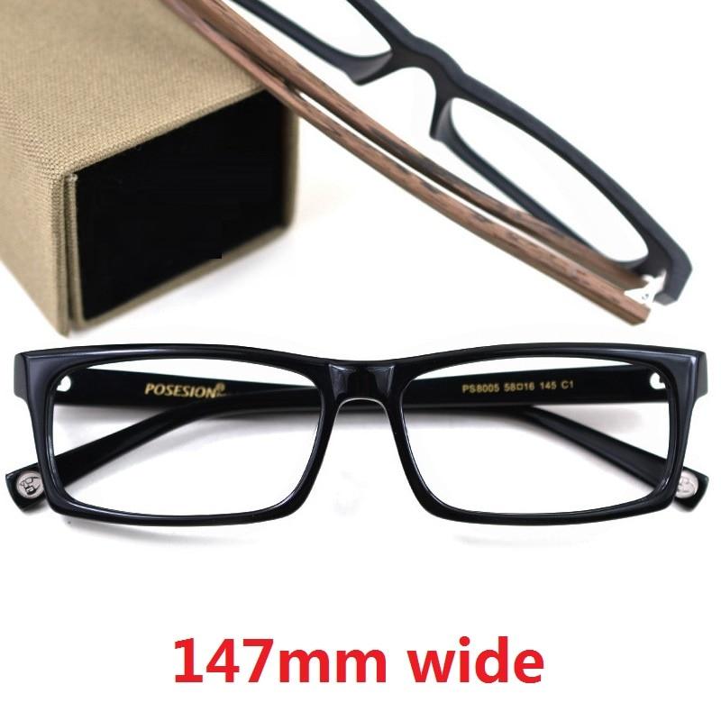 Vazrobe 147mm Oversized Glasses Frame Men Women Acetate Wood Eyeglasses Man Wide Big Spectacles For Prescription Fake Wooden