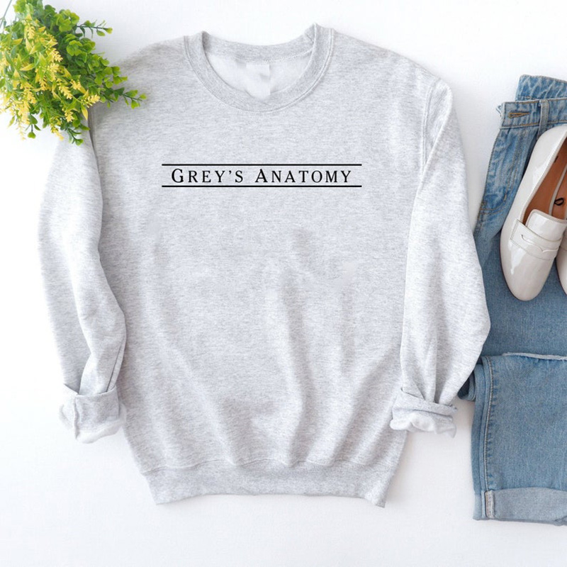 Greys Anatomy Crewneck Sweatshirt Women Grey Sloan Memorial Hospital Hoodies Harajuku Hoody Female Moletons Feminino