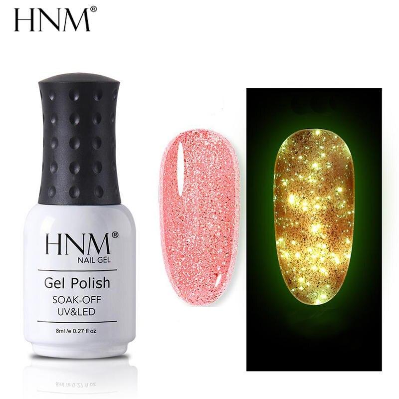 Светящийся Гель-лак для ногтей HNM цвета розового золота ночной светящийся в темноте флуоресцентный лак удаляемый замачиванием УФ-лак свето...