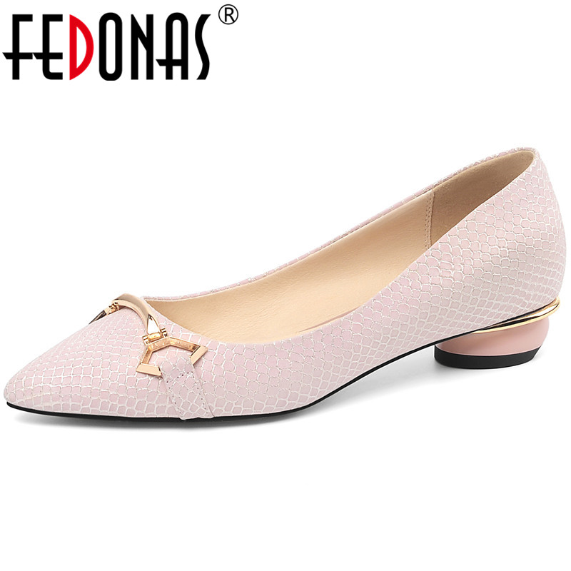 FEDONAS  Women Pumps Metal Decoration Pointed Toe Snakeskin Leather Sweet And Cute Spring Summer Prom Shoes Elegant Shoes Woman