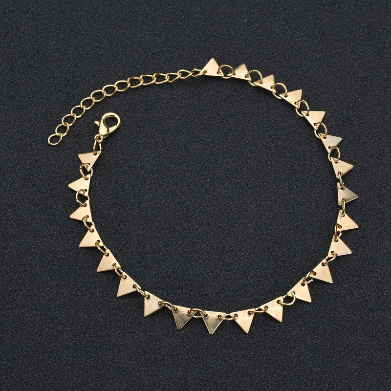 Bohemian Gold Color Triangle Leg Bracelet for Women Beach Triangle Anklet Summer Sandals Barefoot Punk Metal Foot Decoration 4