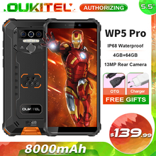 OUKITEL WP5 Pro 8000mAh Rugged Mobile Phone 4GB + 64GB 5.5'' Android 10.0 13MP Rear Camera IP68 Waterproof Smartphone
