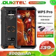 Oukitel wp5 pro 8000mah áspero telefone móvel 4gb + 64gb 5.5 android android android 10.0 13mp câmera traseira ip68 smartphone à prova dip68 água
