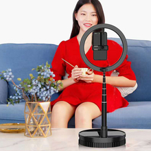 Portable Live Fill Light Bracket USB Ring Lamp + Adjustable Beaauty Photography Lighting Set Retractable Self Phone Holder Stand cheap Haissky Universal Fit For Most Cell Phones Desk Aluminium Alloy Universal Use Fill Light Phone Holder Bracket Mobile Phone Bracket For Live For Gilr Women