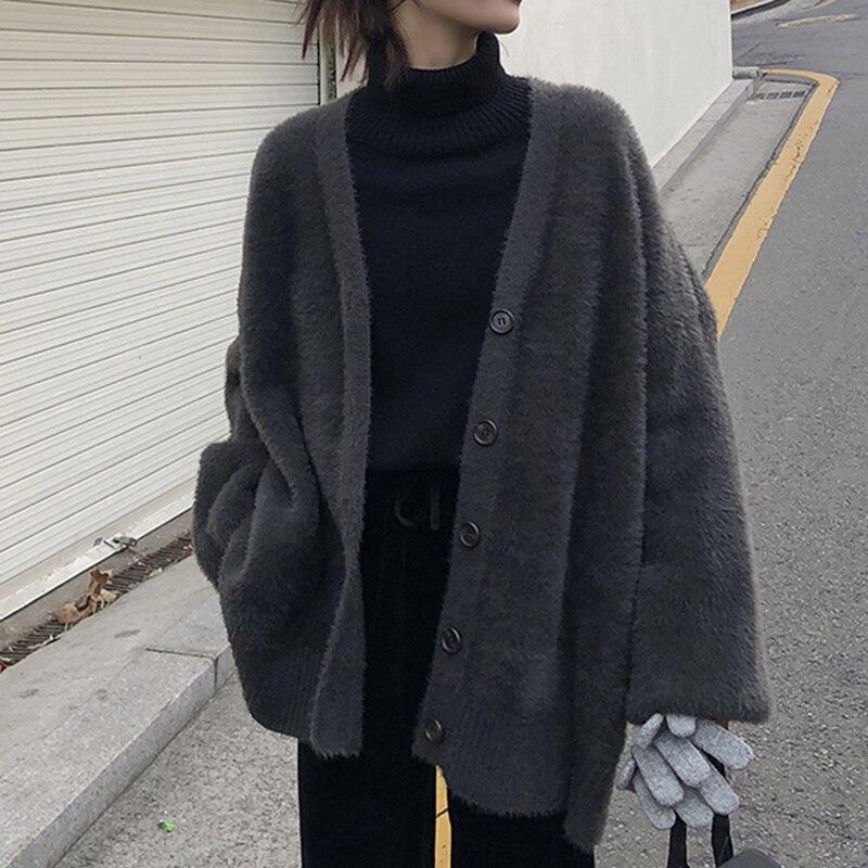 2019 Women's Fashion Cashmere Cardigan Women Korean Single-breasted Long Sleeve Female Coat Casual Auturm Winter Warm Cardigan