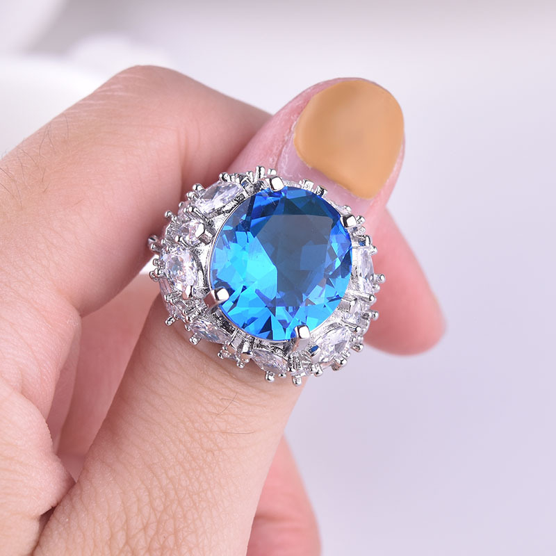 925 Silver Color Sapphire Ring With Diamond For Women Blue Topaz Gemstone Wedding Jewelry Pulseras De Plata De 925 Mujer Ring