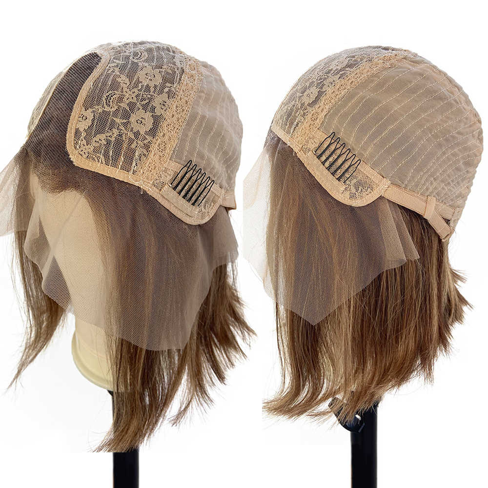 Menschliches Haar Ingwer Blonde Braun Balayage Haar Perücke Farbige Billig Kurze BOB Spitze Front Perücken Pre Gezupft 1b 30 Highlight ombre Perücke