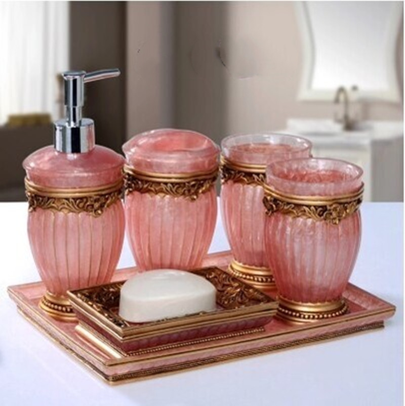 Pink Romantic Resin Five Piece Set With Tray Bathroom Accessories Christmas Decoration Wedding Gift Mug Cup Set Tooth Cylinder Bathroom Accessories Sets Aliexpress