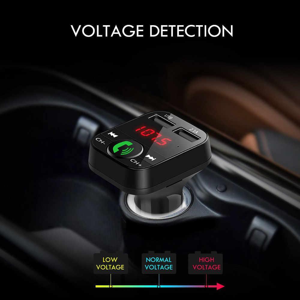 Mobil Kit Handsfree Bluetooth Nirkabel FM Transmitter LCD MP3 Pemain 3.1A Cepat Dual USB Charger USB TF Kartu AUX untuk mobil Radio