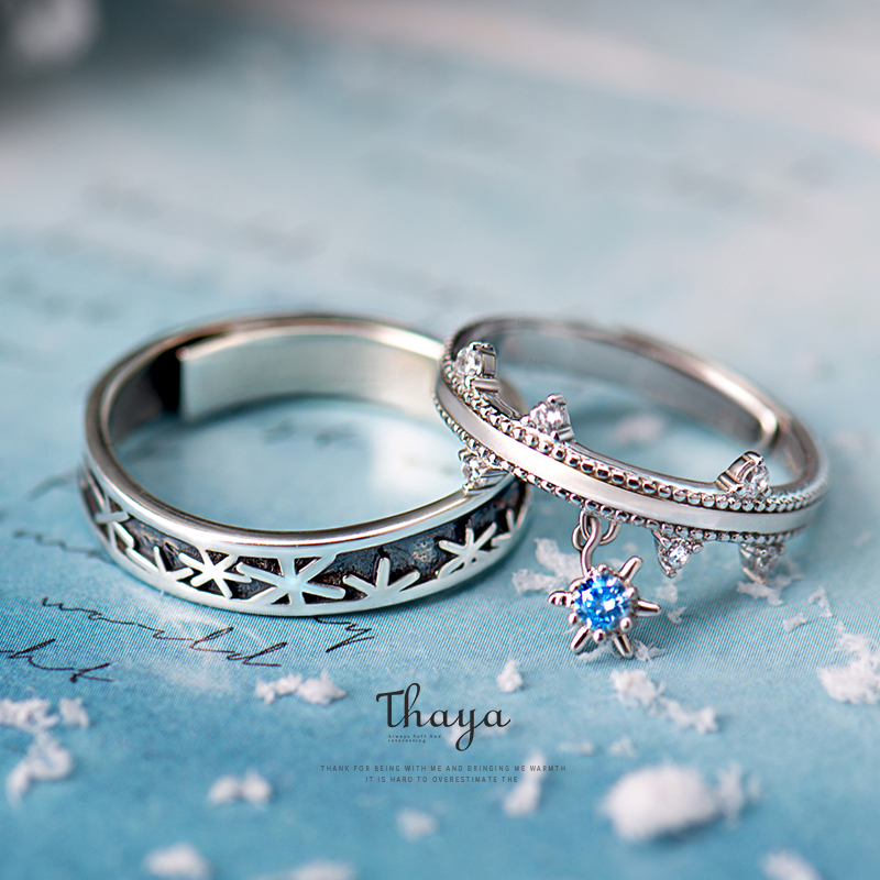 Thaya 925 Sterling Silver Jewelry  3D Texture Rings Christmas Snowflake Couple Sterling Silver Rings For Women Engagement Gift