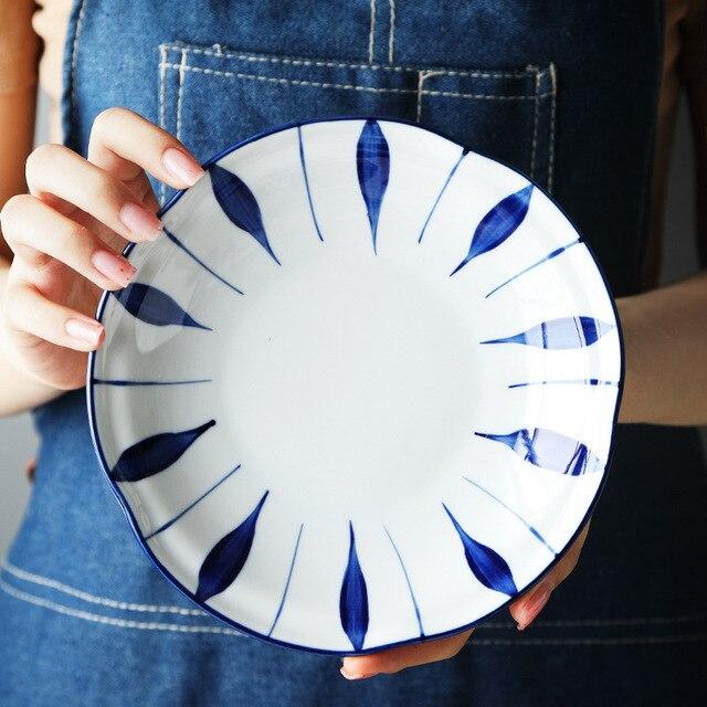 Фото тарелка керамическая с глазурью ручная роспись в японском стиле цена