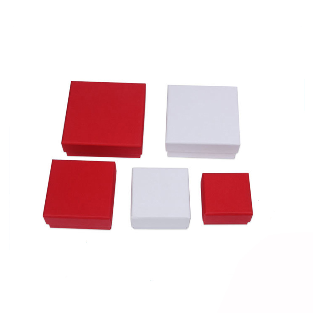 Paper Jewelry Box 5cmx5cm White Red Jewellery Gift Packaging Case Display for Ring Earring Pendant Christmas Present 24Pcs/lot