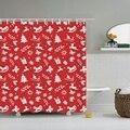 Занавеска для душа с Рождеством и новым годом  Дед Мороз  Рождественская елка  занавеска с крючками для ванной комнаты  занавеска с крючками ...