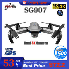 SG907 Quadcopter Gps Drone Met 4K Hd Dual Camera Groothoek Anti-Shake Wifi Fpv Rc Opvouwbare Drones professionele Gps Volg Mij(China)