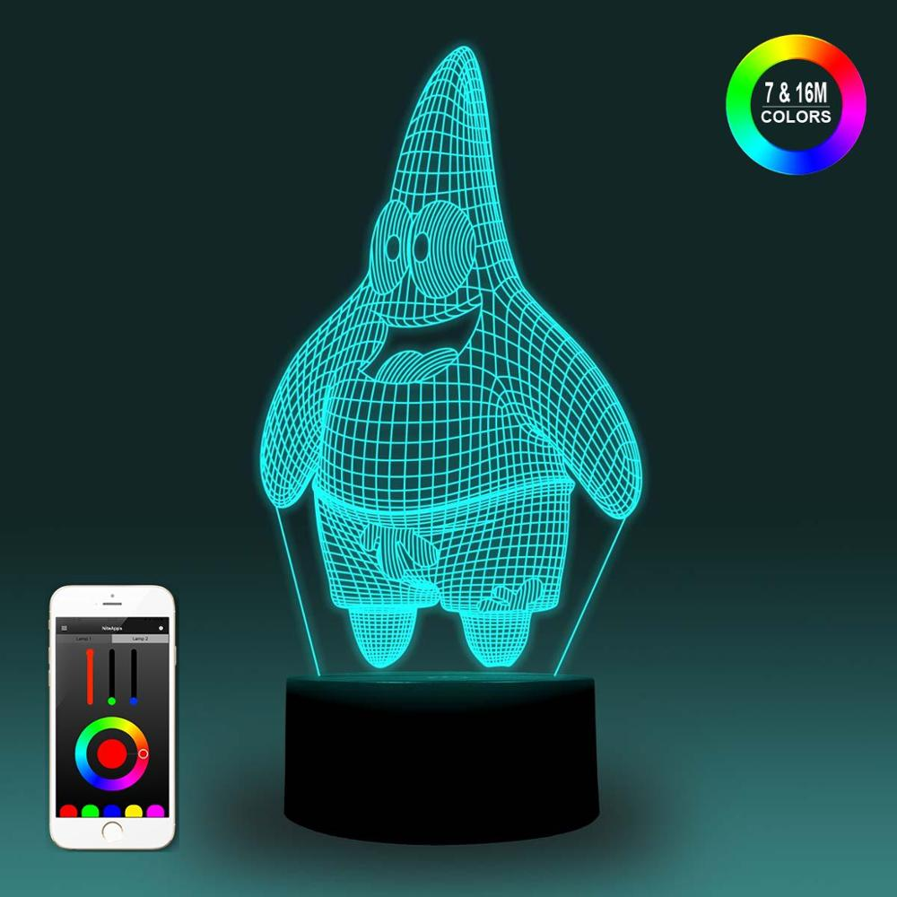 NiteApps 3D Patrick Star Night Light Desk Table Illusion Lamp Holiday Birthday Gift APP/Touch Control
