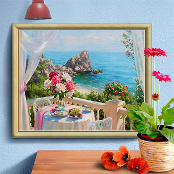 HUACAN Full Drill Square Diamond Painting Landscape 5D DIY Diamond Embroidery Flowers Home Decoration Sea