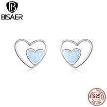 Heart Earrings 2020 New Arrival  Bisaer 925 Sterling Silver Romantic Stud Full of Jewelry GXE858