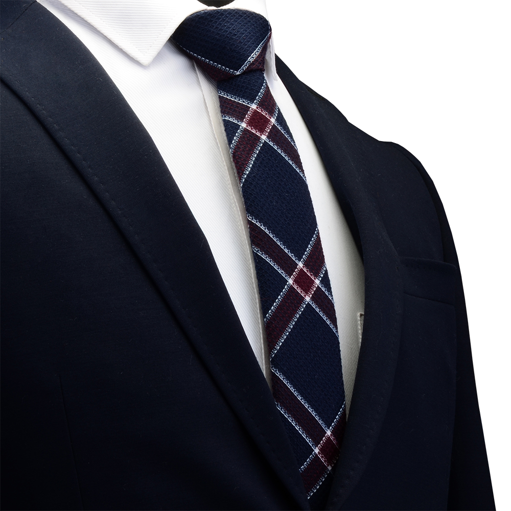 Ricnais 6cm Slim Cotton Mens Tie Red Grey Solid Plaid Skinny Necktie For Men Business Party Leisure  Neckt Ties Accessories