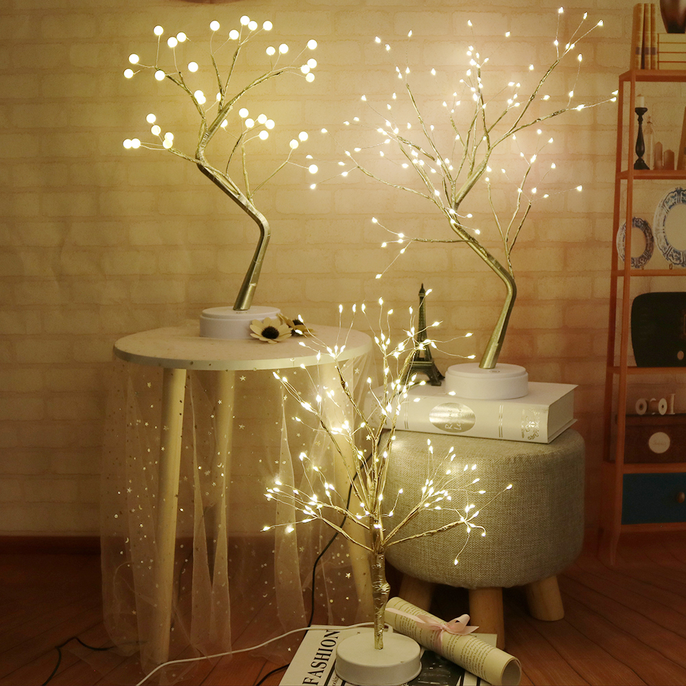 Fire Tree Night Light Table Lamps With Battery & USB Decorative Fairy Lights For Party Wedding Bedroom Decor