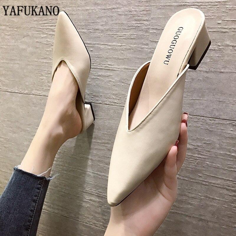 2020 New Summer Slippers Slip On 5 CM Square Heel Shoes High Heels Women Pumps Slides Sandals