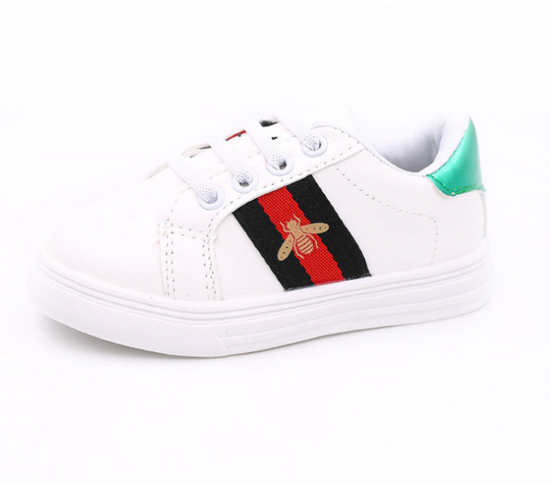2019 Autumn New Fashion Children Casual Shoes Kids Small White Shoes Kids Sneakers All-match Leather GG Barnd Shoes