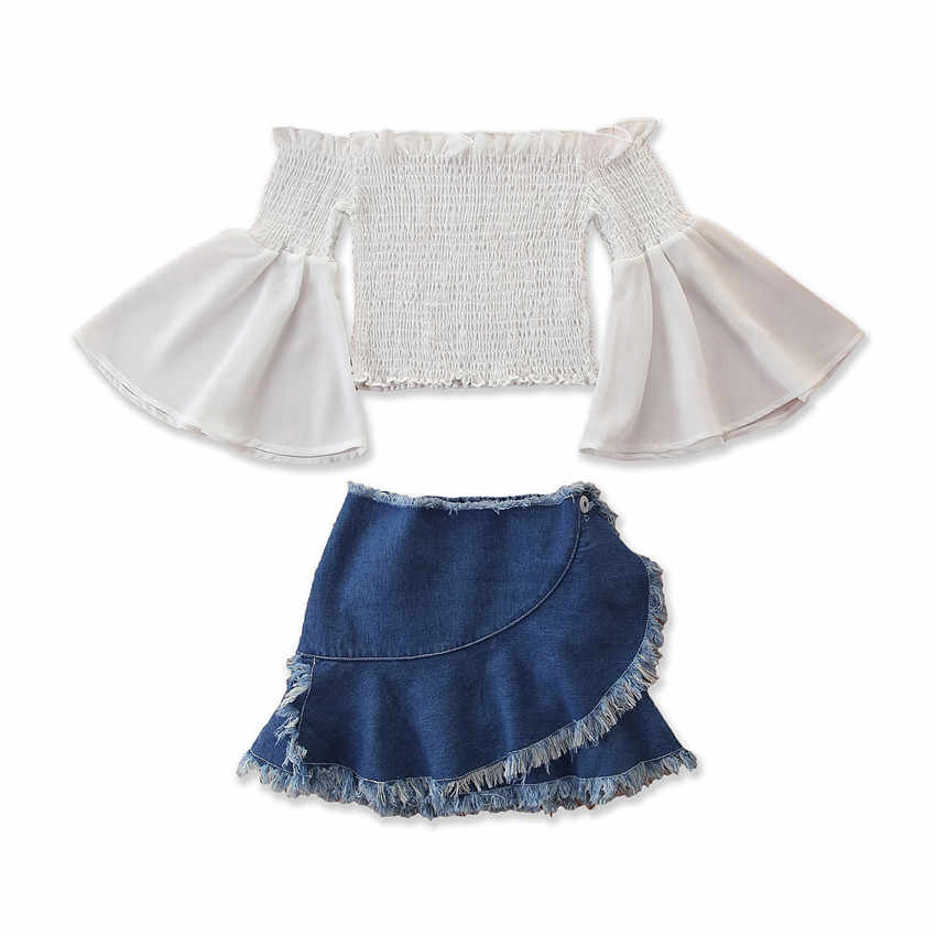 Toddler Kids Baby Girl Long Flare Sleeve Ruffle Pleated Off Shoulder Elastic Tops + Denim Tassel Skirts Outfit 2Pcs Set 1-6Y
