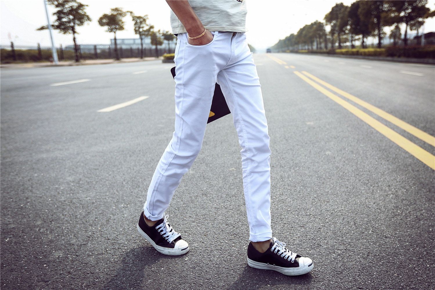 Autumn New Style Youth Korean-style White Jeans Men's Casual Slim Fit Skinny Pants Elasticity Thin