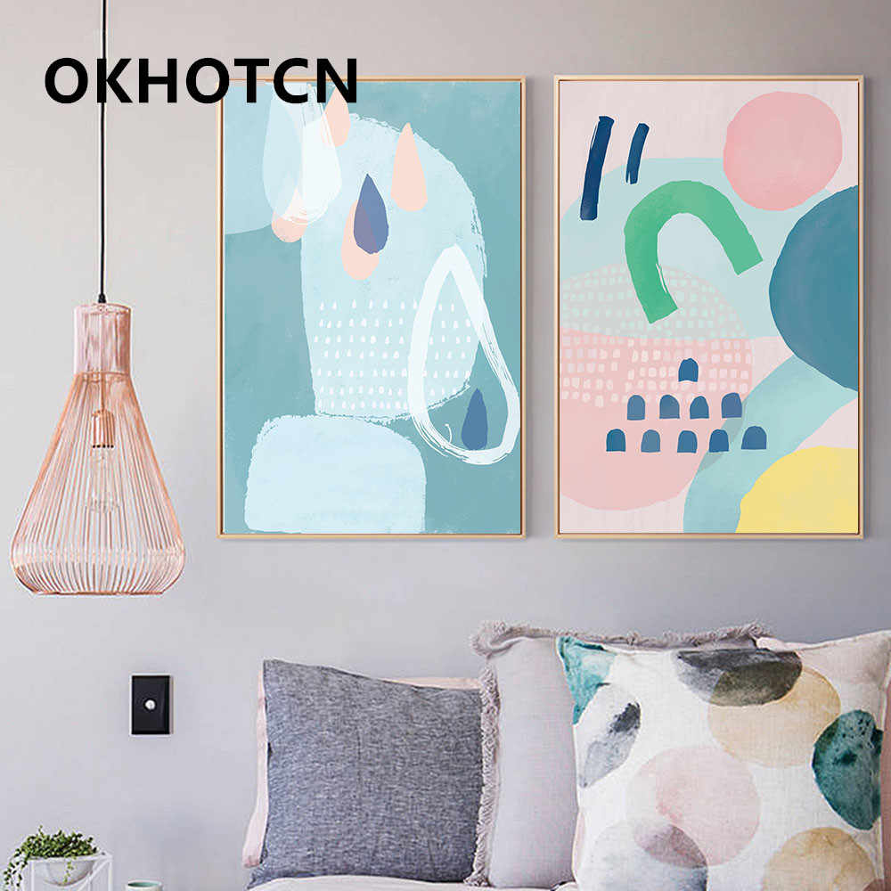 Cartoon Minimalism Geometry Color Blocks Abstract Wall Art Canvas Posters and Prints Painting Modern Wall Picture Kids Bedroom D