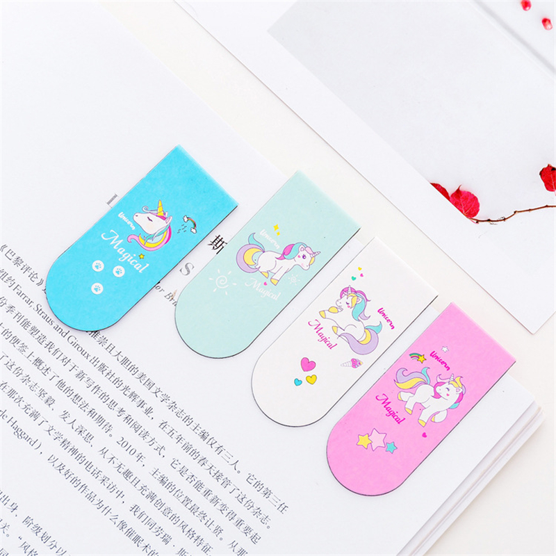 Kawaii Unicorn Bookmark Cute Magnetic  Books Marker Of Student Teachers Stationery School Office Supply Paper Clip Book Marks
