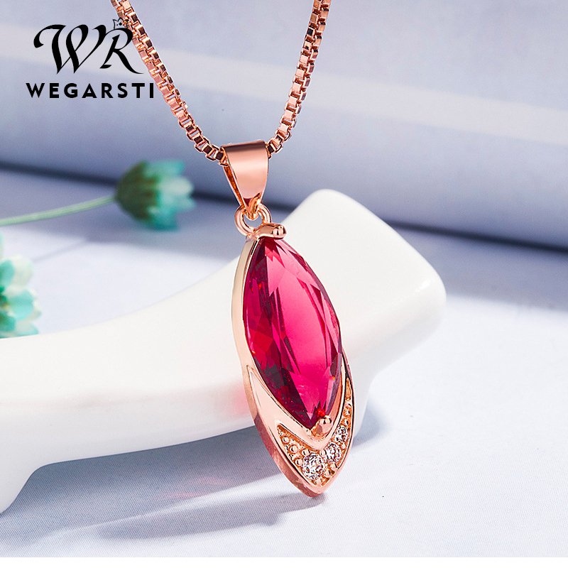 WEGARASTI Silver 925 Jewelry Necklace Ruby With Pendant Necklaces For Women 925 Sterling Silver Necklace Fine Jewelry Wholesale