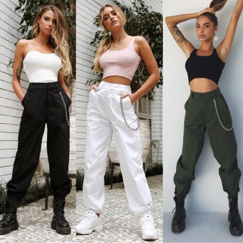 Women Pants Casual Jogger Dance Sport Pants Baggy Slacks Trousers Ladies High Waist Chain Hip-Pop Combat Cargo Pants for Women
