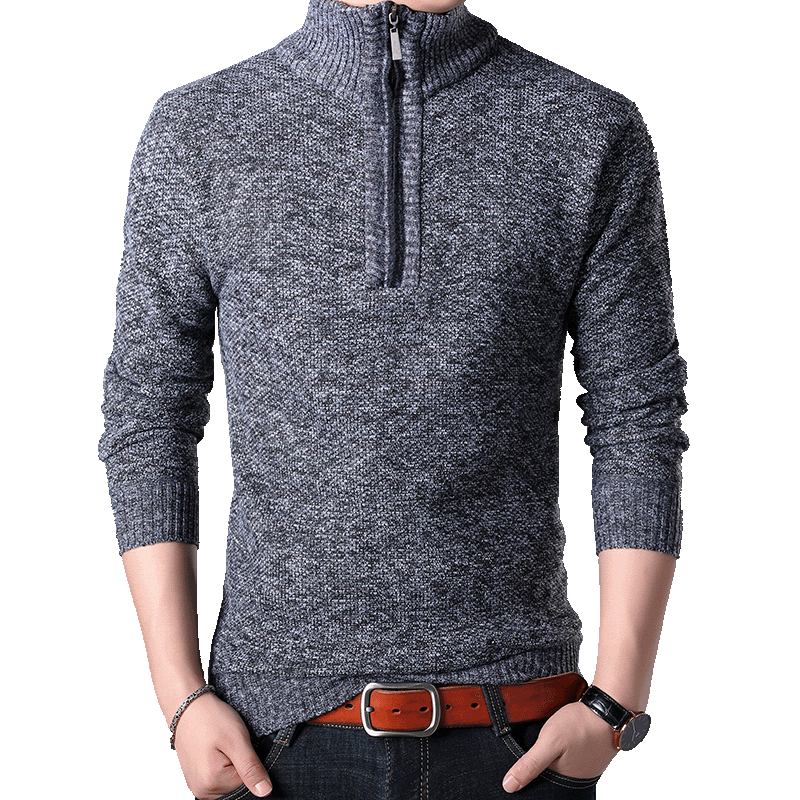 Winter Men Sweater Zipper Pullovers Casual Stand Collar Cashmere Sweatercoat Male Slim Fit Knitted Sweater Pullover Jackets