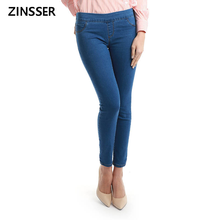 11.11 Autumn Winter minimalist Women Denim Skinny Stretch Fake Front Pocket Medium Waist Washed Blue Slim Elastic Lady Jeans(China)