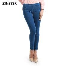 11.11 jesienno zimowa minimalistyczna damska dżinsowa chuda Stretch fałszywa przednia kieszeń średniej talii sprany niebieski Slim elastyczne dżinsy damskie