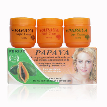 Papaya whitening cream for face anti freckle day night & pearl cream 3 pcs in 1 box papaya whitening day and night cream anti freckle face cream improve dark skin refreshing face skin