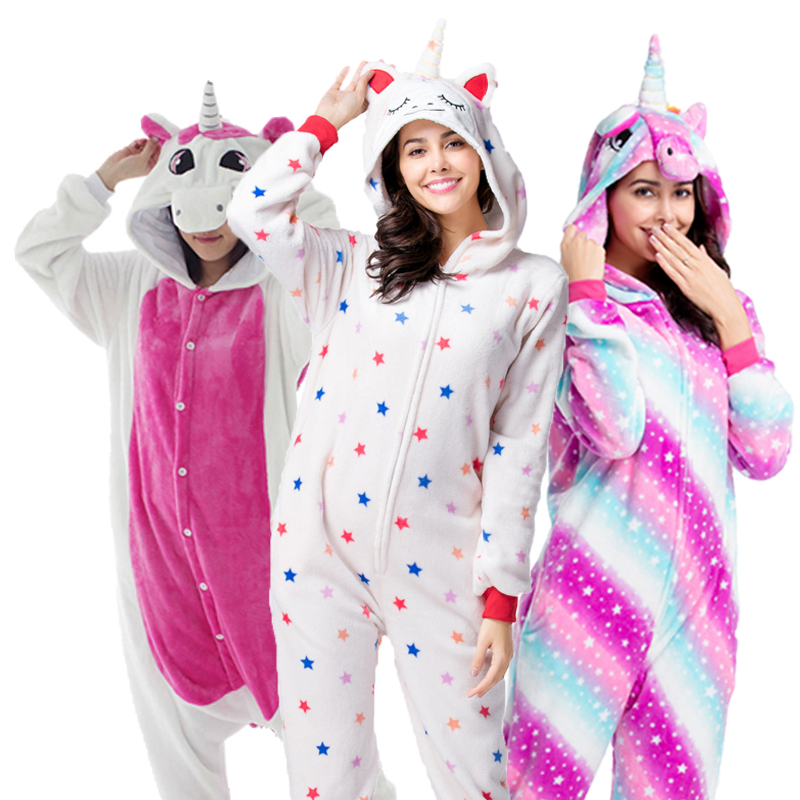 Kigurumi Halloween Costume Anime Cosplay Unicorn Stitch Onesies Spider Man Jumpsuit Warm Hooded Pajamas For Women Kids Men