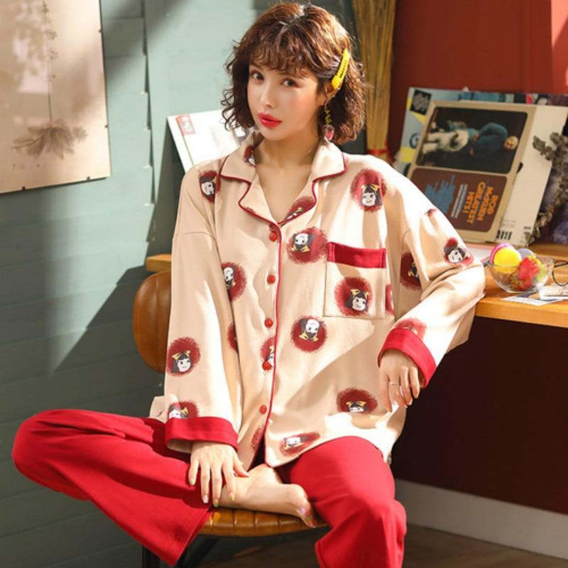 Autumn Winter Warm Comfortable Pajama M-3XL Women Plus Size Sleepwear Set Simple Cotton Women's Set Cardigan Button Pyjamas 2