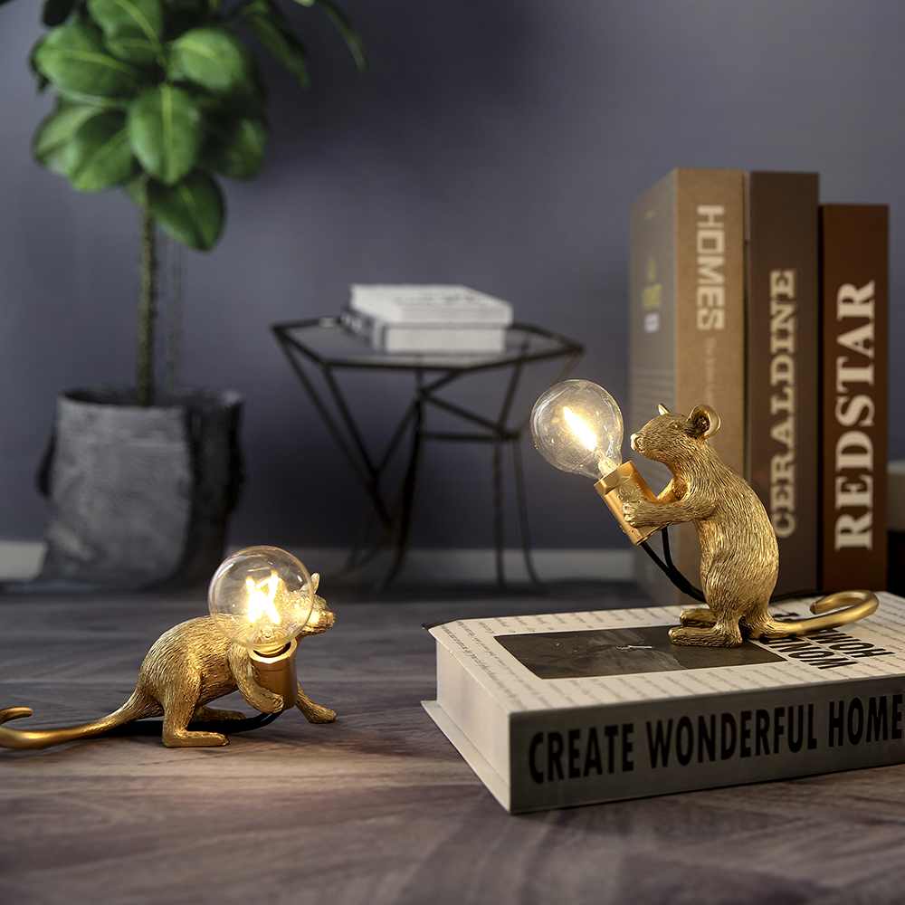 Modern SELETTI Resin Mouse Night Lights LED E12 Mini Mouse Table Lamps Kids' Room Home Decor Bedside Lamp EU/AU/US/UK Plug