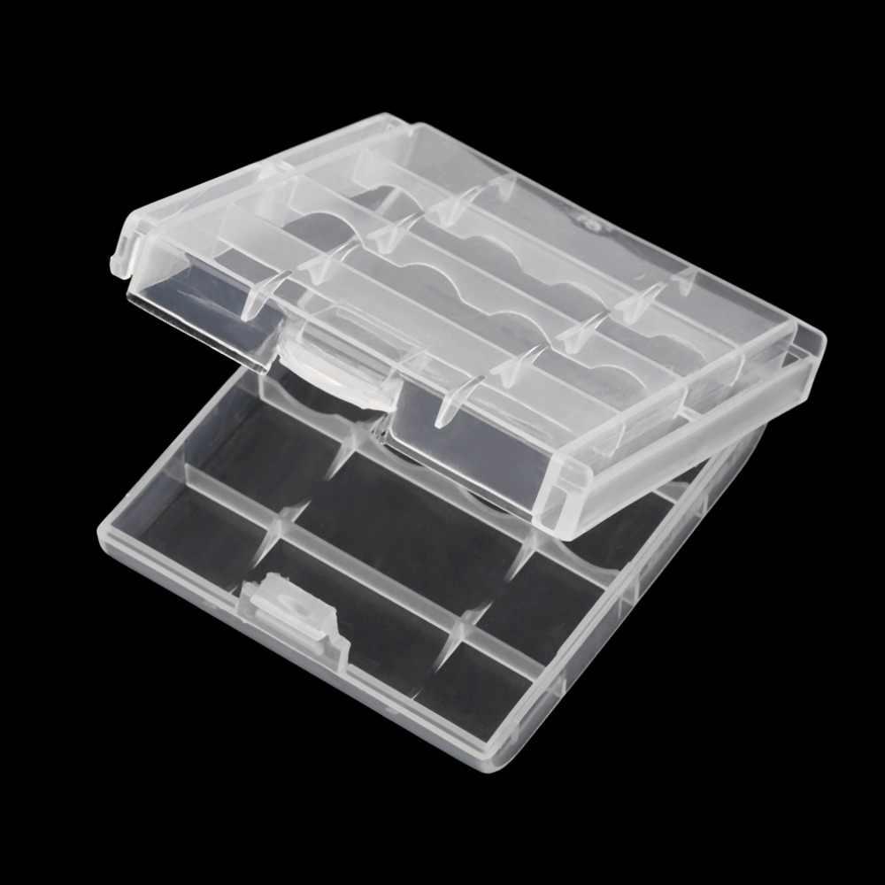 Blanc En Plastique Boîte De Stockage De Batterie Dur housse en plastique pour 4 pièces AA Piles AAA Transparent