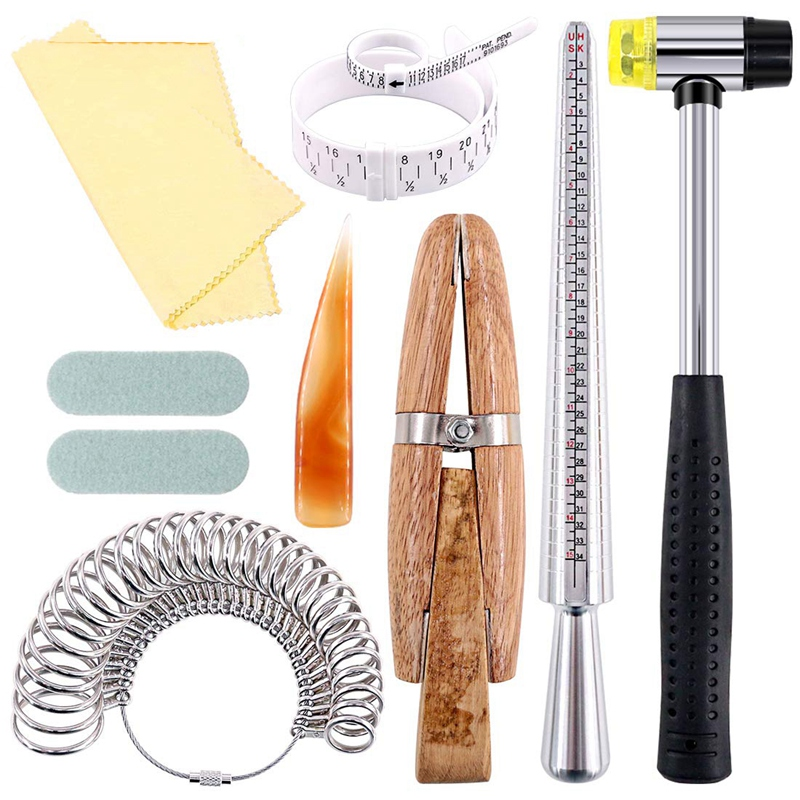 12Pcs Jewelry Ring Sizer Tools Set, Ring Mandrel, Ring Sizer, Wood Ring Clamp, Rubber Hammer, Plastic Ring Sizer Gauge, Jewelry