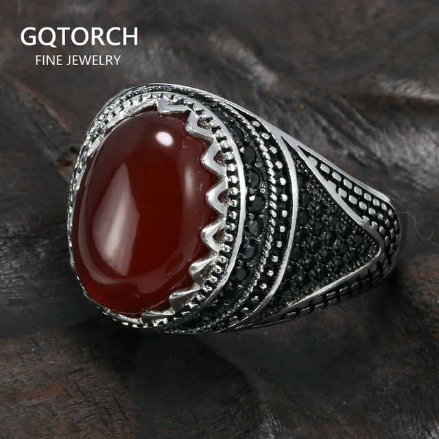 รับประกัน 925 เงินแหวนมงกุฎRetro VINTAGEตุรกีแหวนผู้ชายหินธรรมชาติสีดำสีเขียวสีแดงRingen