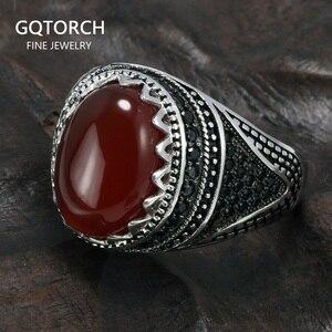 Image 1 - Garantili % 925 gümüş yüzük taç Retro Vintage erkekler için türk yüzükler doğal taşlar ile siyah yeşil kırmızı renk Ringen