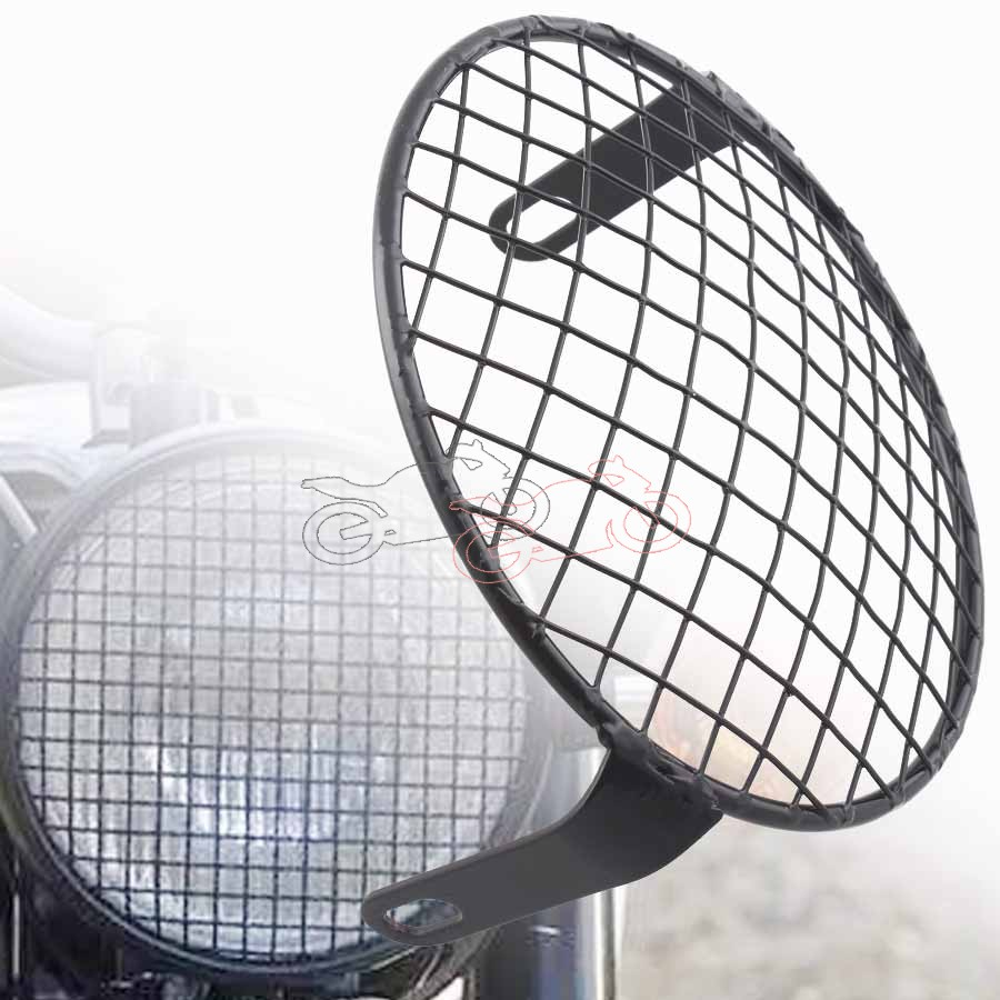 Racing Vintage Old School Metal Grill Motorcycle Side Mount Headlight Cover 6.3Inch Universal Fits For Cafe Racer Bobber CB