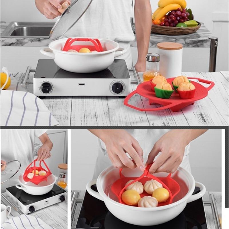 Versatile Silicone Steamer Shelf Cookware Durable Steamer Rack Food Holder Kitchen Accessories Telescopic Pot Steam Tray 1