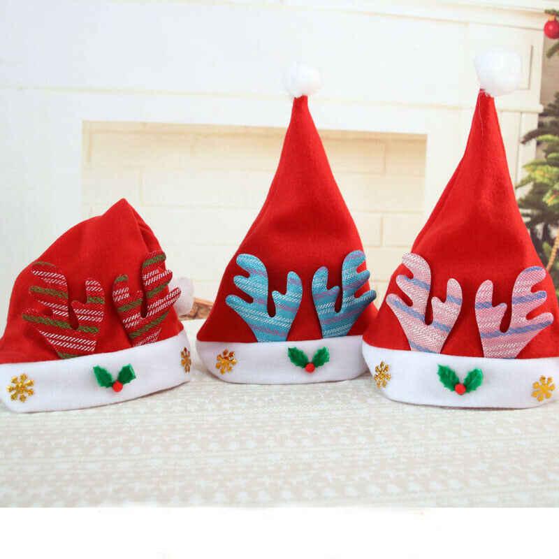 Imcute caliente familia juego trajes LED Santa Claus Reno muñeco de nieve sombrero de Navidad para fiesta adultos chico niños Fit Cap 3 estilo con LED