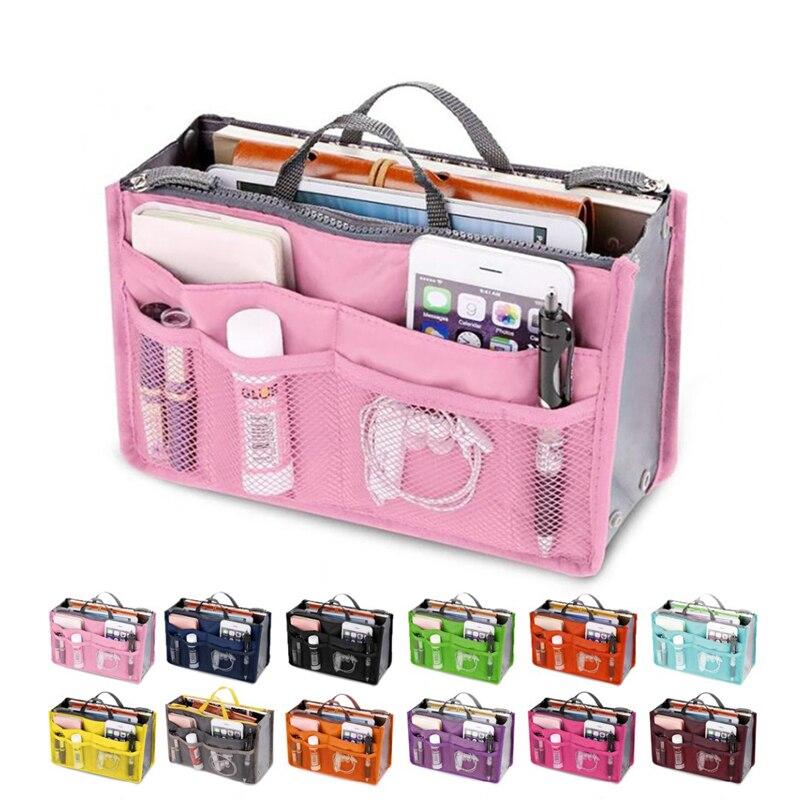 Storage Bag Insert Bag Large Lined Women's Cosmetic Bag Nylon Travel Insert Storage Bag Handbag Cheap Women's Handbag