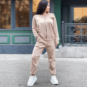 Autumn Winter Knitted Tracksuits 3 Piece Set Women Zipper Jacket Coat+Elastic Pants Suit Casual Sports Outfits Female