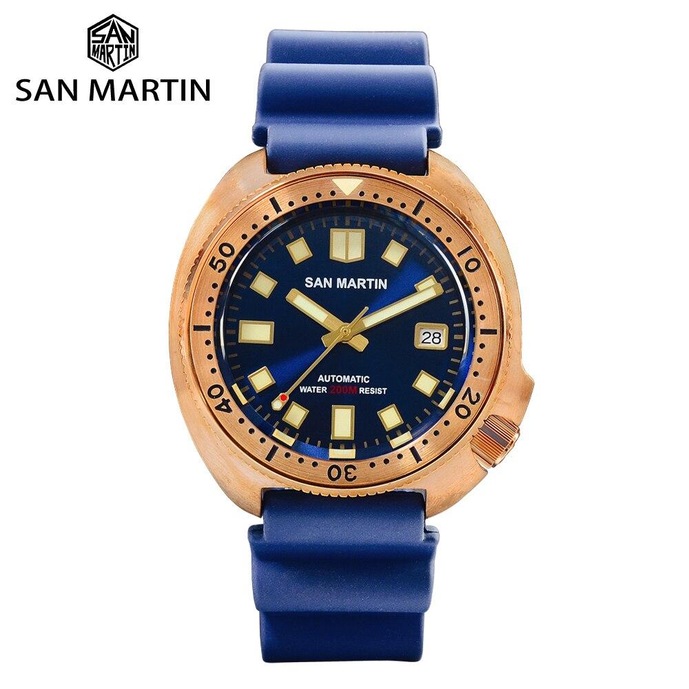 San Martin Stylish Abalone Bronze Diver Watch Men Mechanical Watches Sapphire Crystal Ceramic Bezel Luminous Fluoro Rubber Strap